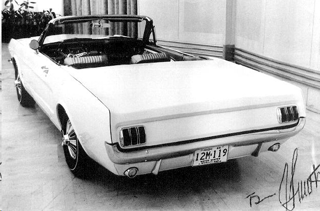 "1966 Ford Mustang ""Retractable Hardtop"" Black and white"