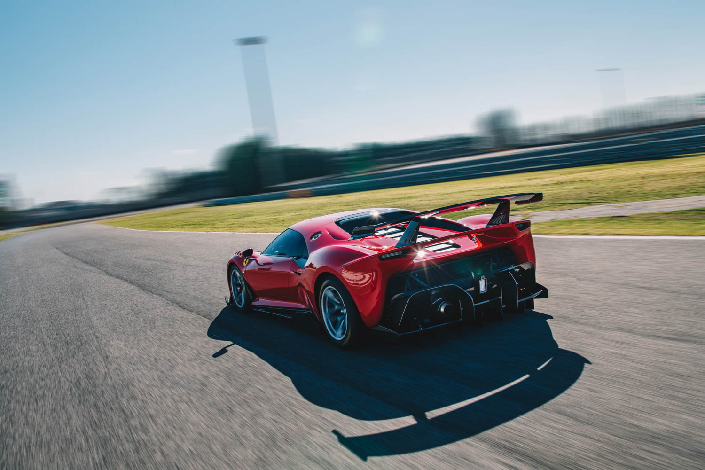 Ferrari P80/C on the track at speed