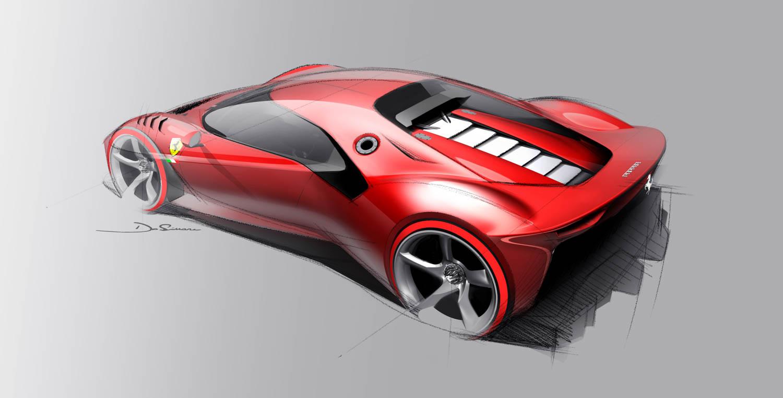 Ferrari P80/C rear 3/4 drawing