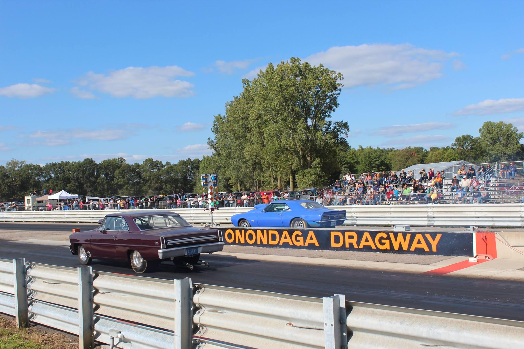 Onondaga Dragway rear view strip