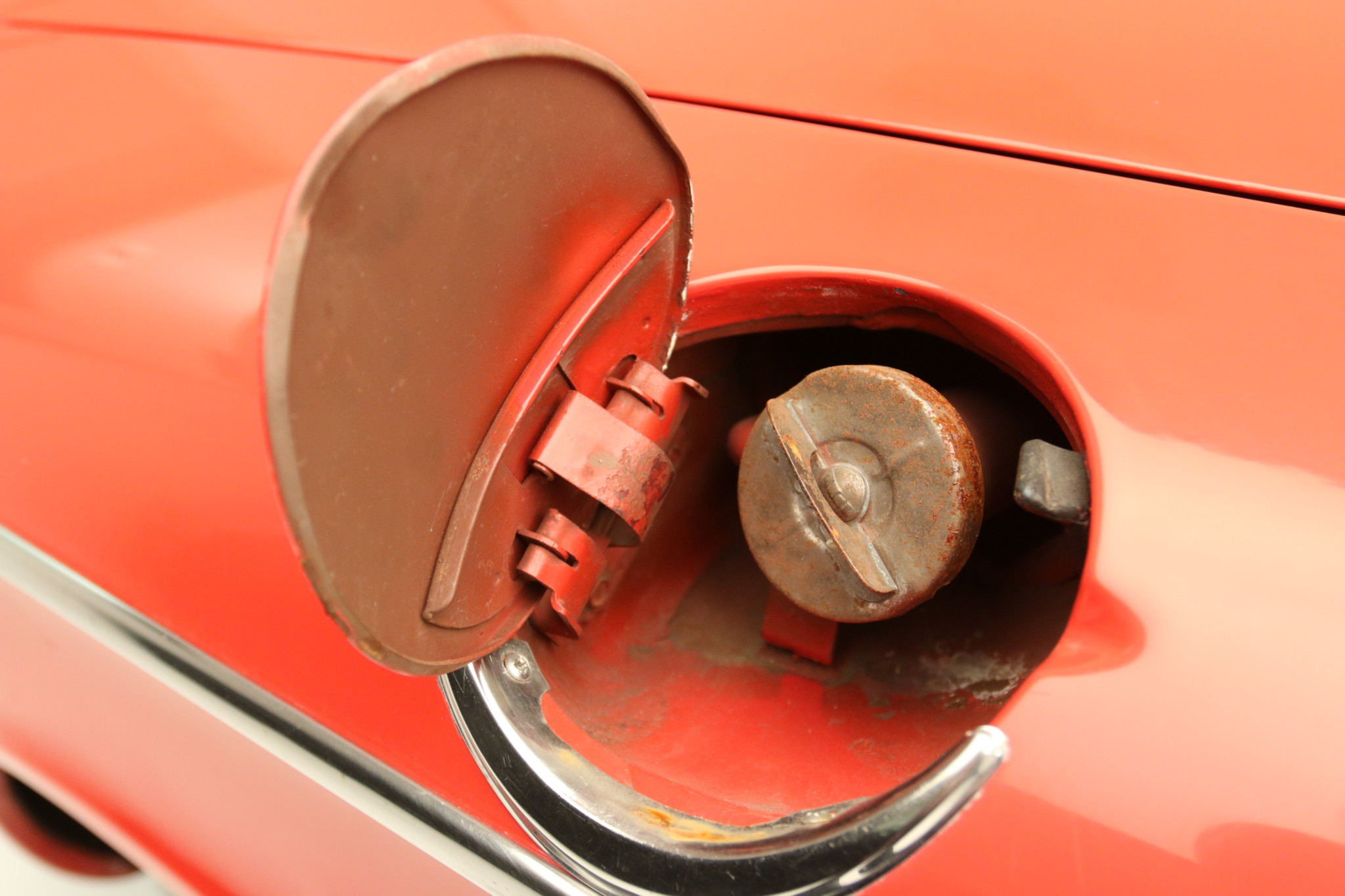 1960 Chevrolet Corvair 700 fuel filler
