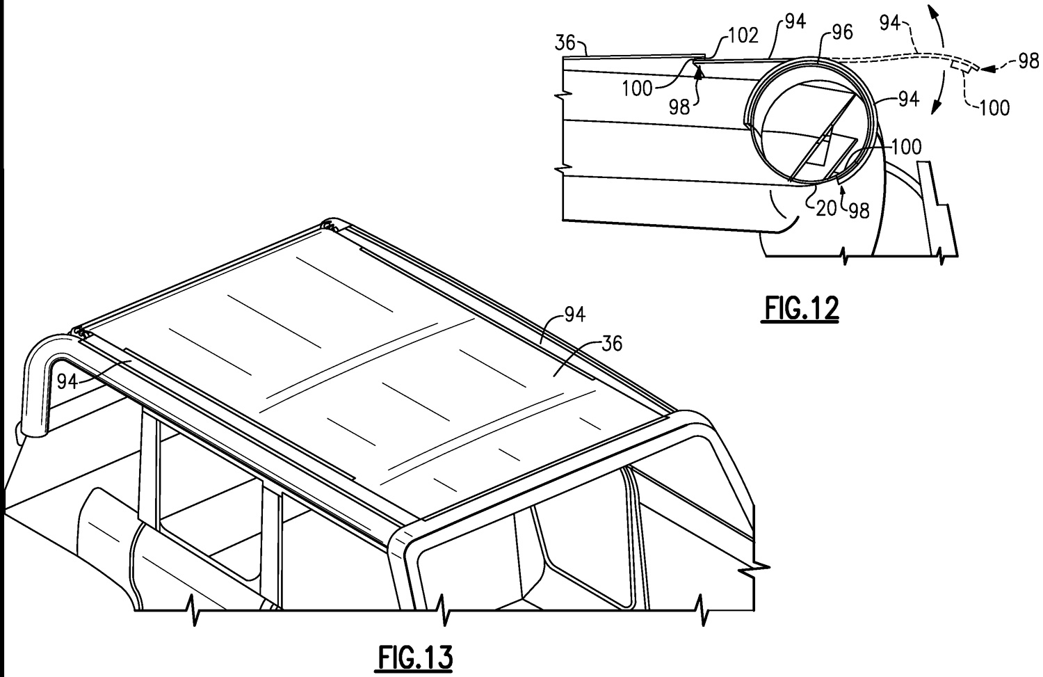 Ford Bronco soft top roof patent