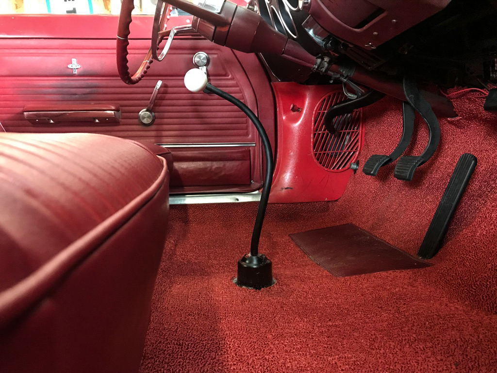 1965 Corvair Corsa Shifter side view in car