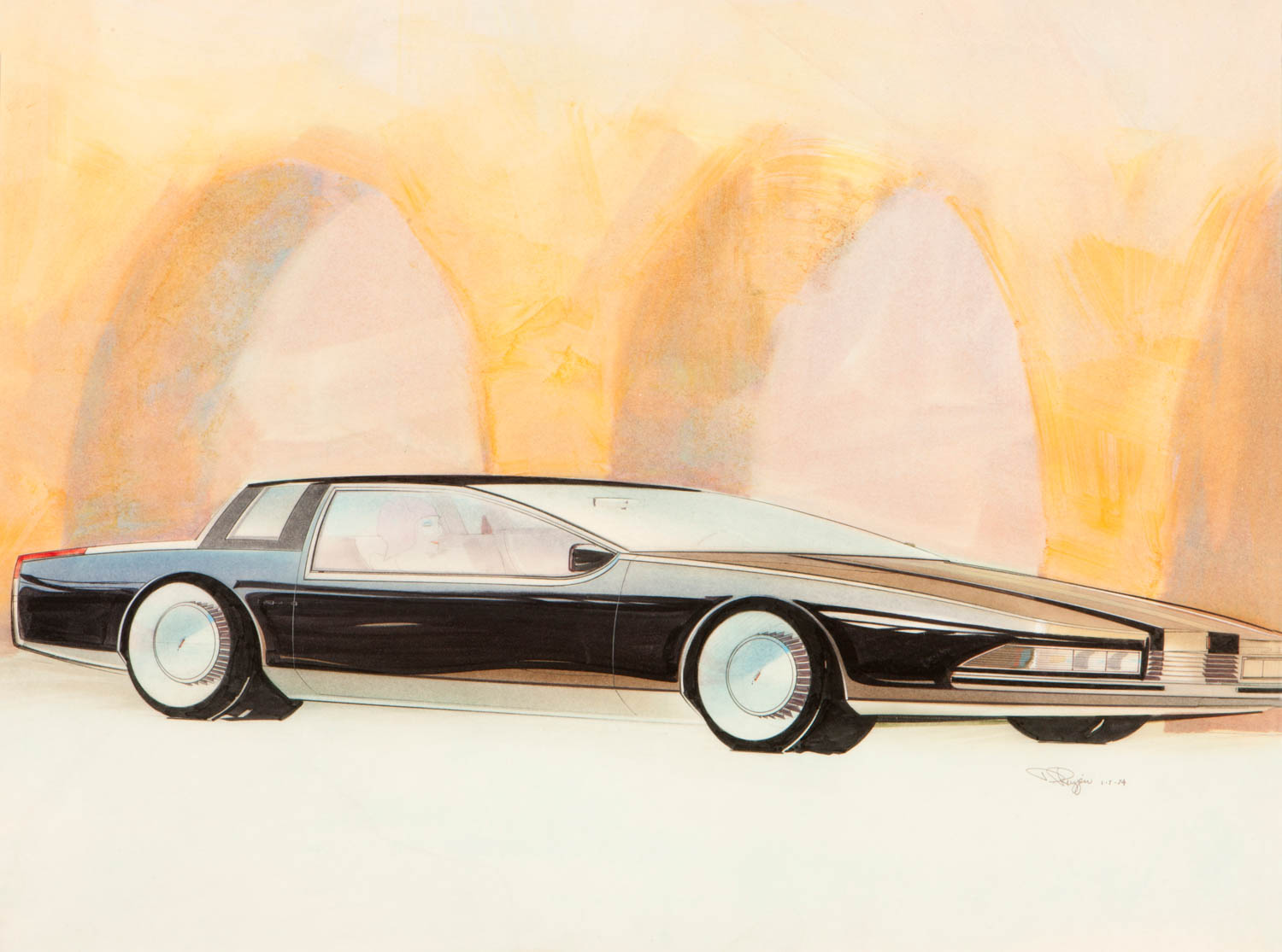 """""""This January 1972 sketch shows the arcades on Via Roma in Turin, Italy, with a proposed Olds Cutlass coupe. I was the chief of Advanced Oldsmobile Design, working with Tom Semple, Tom Matano, and Charlie Graefe. We sent a lot of inspiring work to the production Olds Studio."""""""