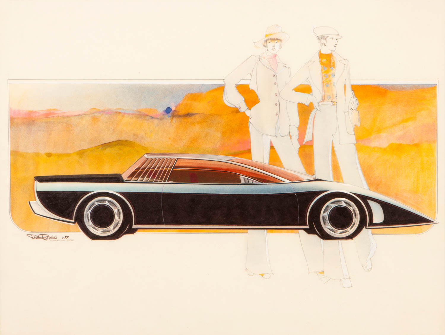 """""""I created this sport coupe in the International Design Studio in June 1974 as a proposal to expand the use of the frontwheel- drive X-car drivetrain. It was drawn, rendered, then cut out and glued over a watercolor-painted background. There is a strong contrast between the two fashionable young women in a largerthan- life scale and the low coupe."""" —Dick Ruzzin"""