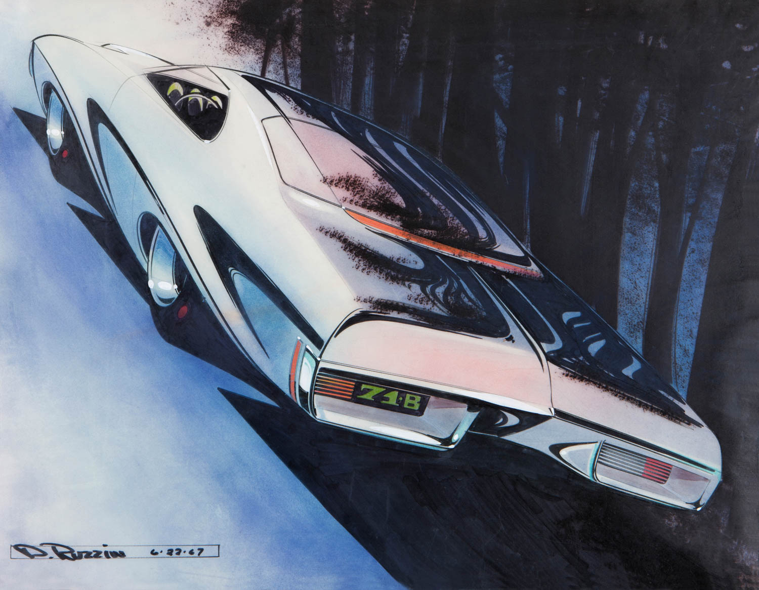 This Buick coupe from June 1968 is also from the Preliminary Design Studio. The two break lines in the rear glass tie in with the high-level brake light. We developed a wonderful 1/3-scale clay model from this sketch.