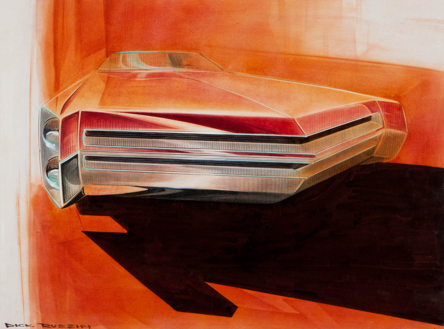 I did this sketch in the International Design Studio in 1969 for an Impala when the grille bar as a design theme for Chevy was just getting started. Chevrolet Design institutionalized the bar in its Design Brand Statement in 1998 under my direction.