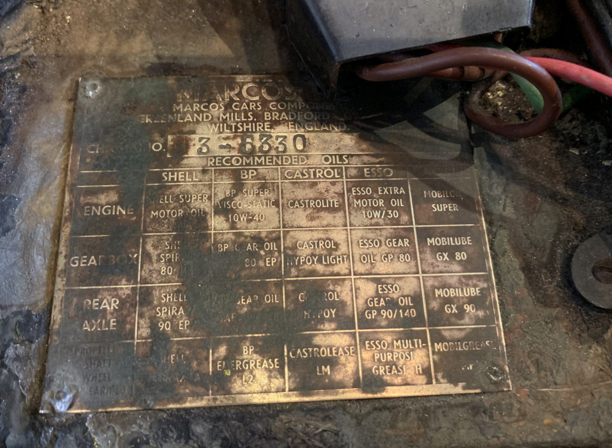 1969 Marcos 3 Litre GT Project vin plate