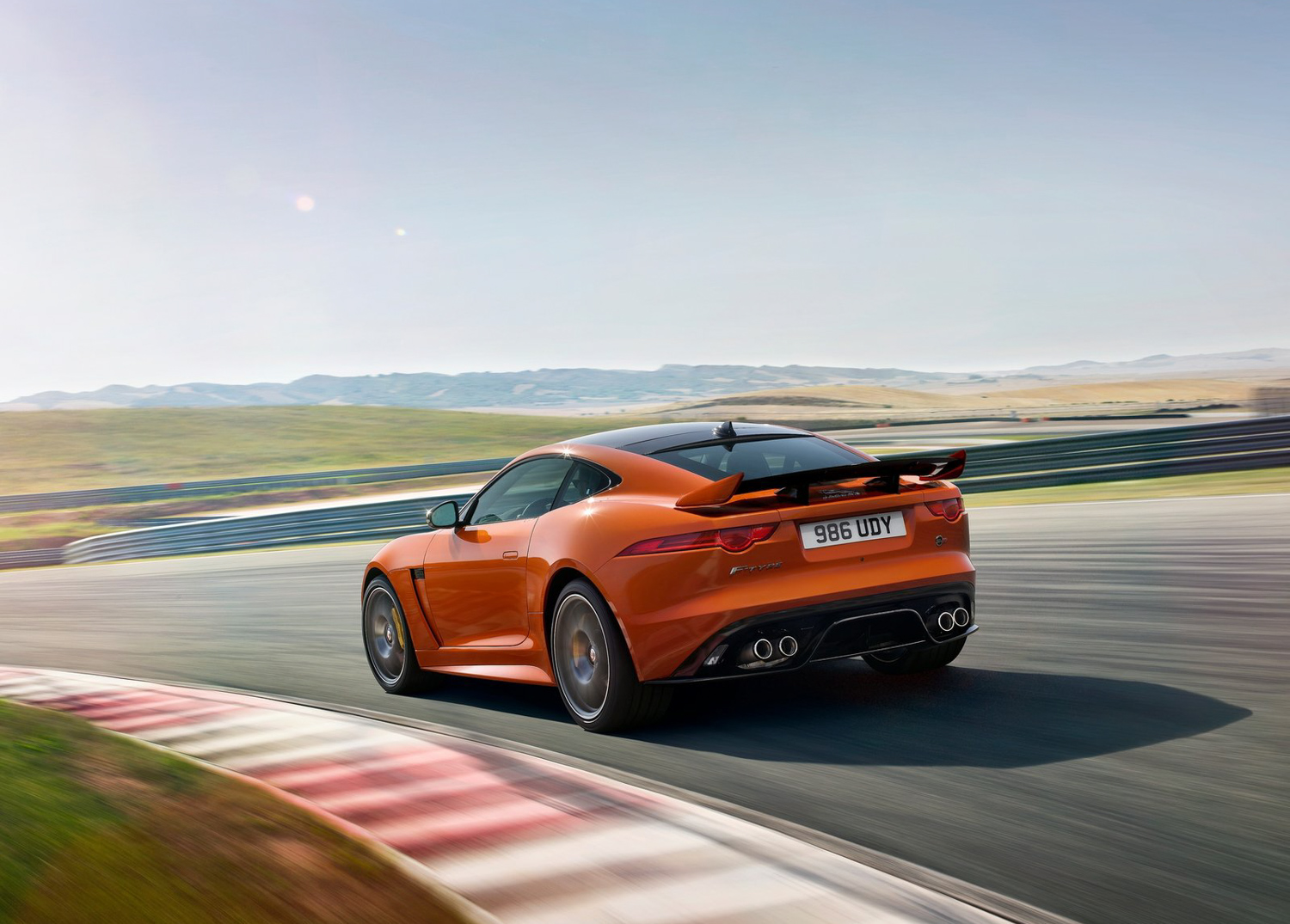 2019 Jaguar F-Type SVR 3/4 rear on track