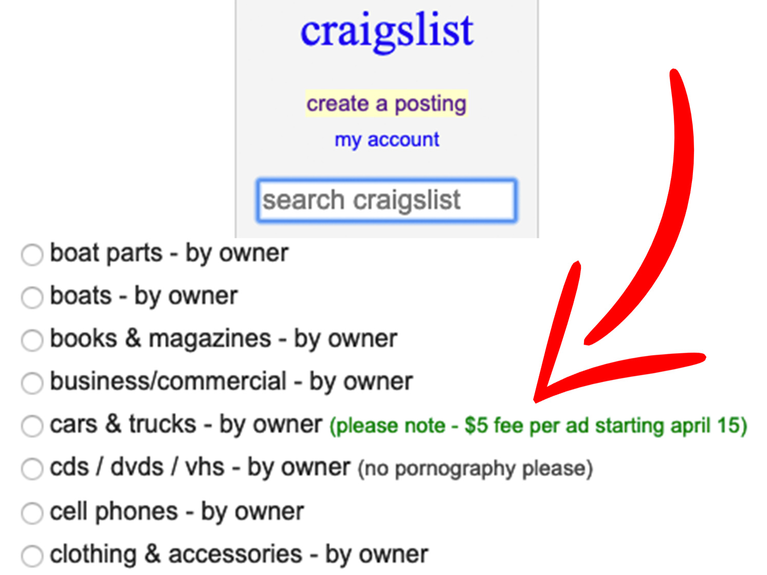 Craigslist car listings will cost private sellers $5 beginning April 15 thumbnail