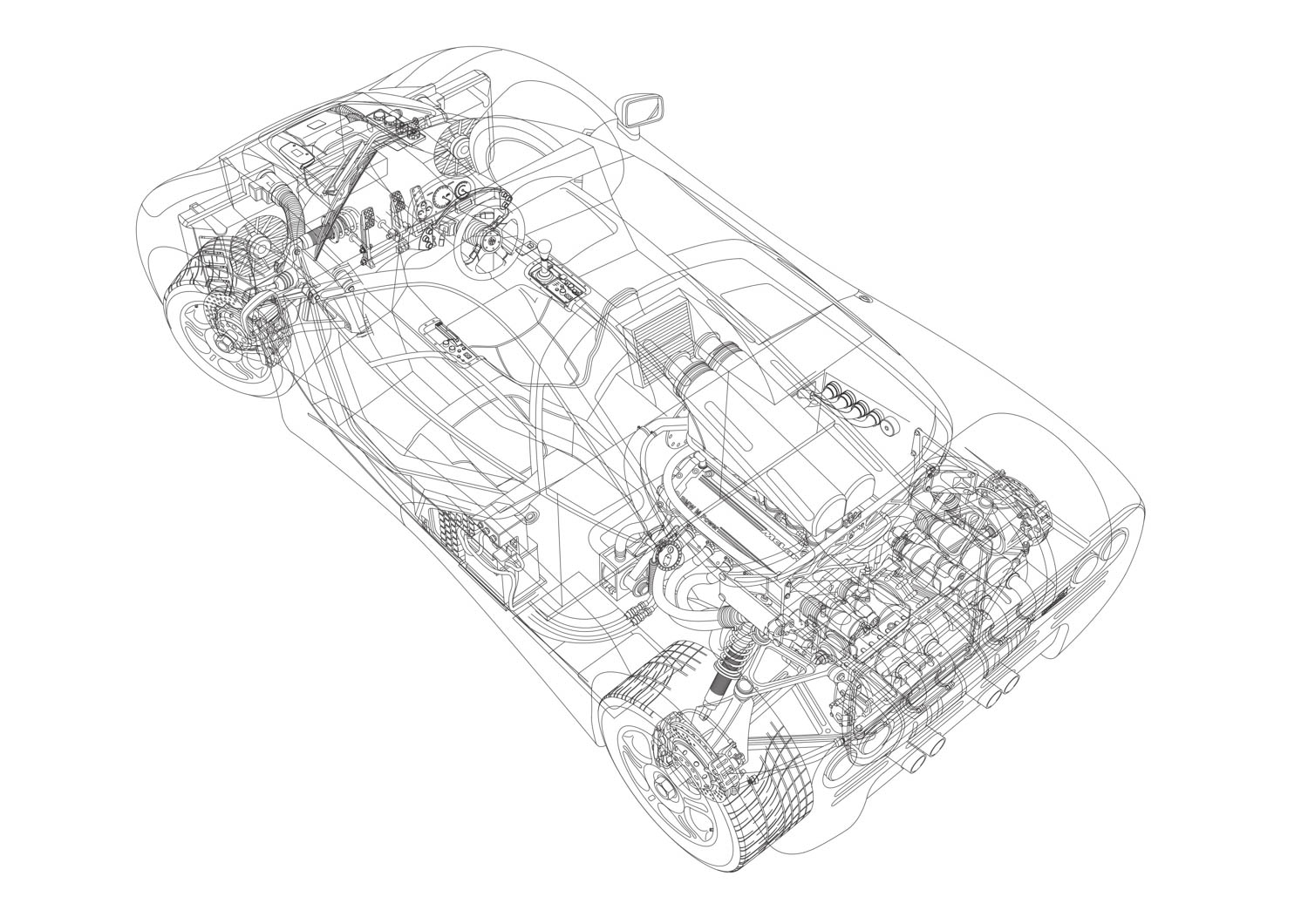 McLaren F1 overhead drawing