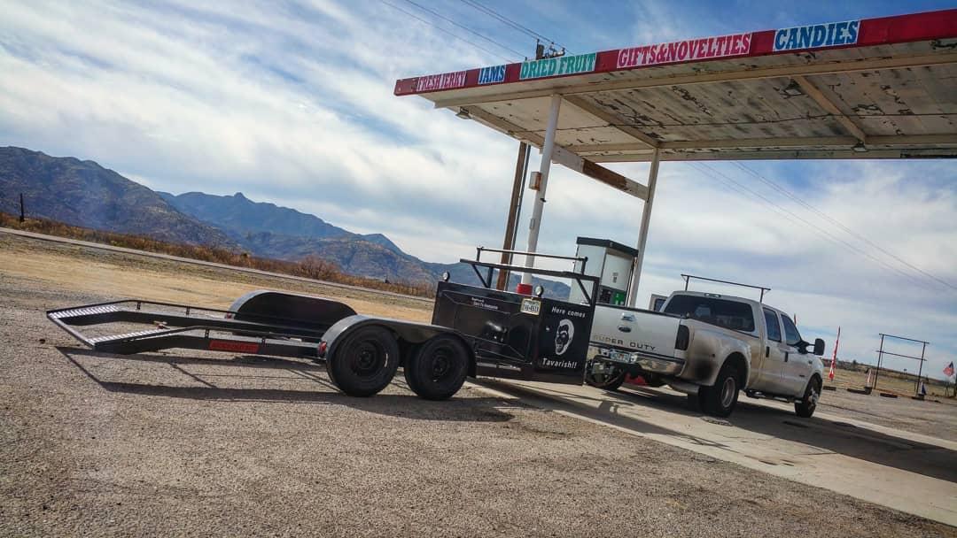 Lamborghini Murcielago trailer at the gas station