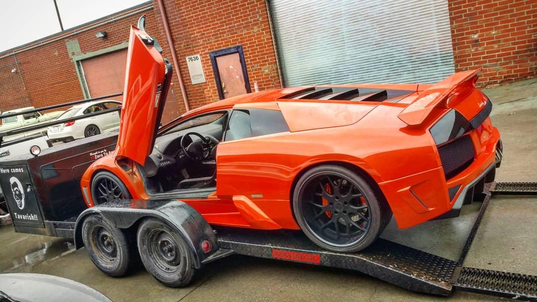 Lamborghini Murcielago on the trailer rear 3/4
