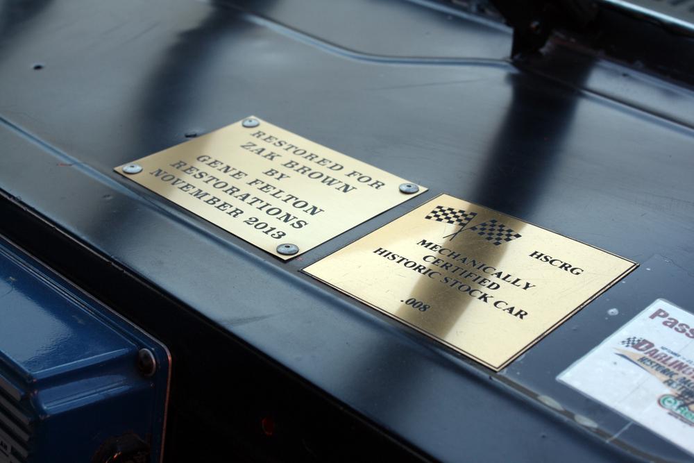 "1977 Chevrolet Nova ""Dale Earnhardt NASCAR"" interior plates"