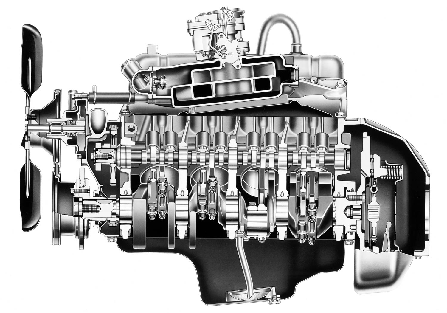 Buick's innovative V-8 featured a deep-skirt aluminum block containing an assortment of iron and steel parts: cast-in bore liners, forged connecting rods, and a crankshaft supported by five main-bearing caps. The result: an engine that weighed 324 pounds, 200 fewer than Chevy's small-block V-8.