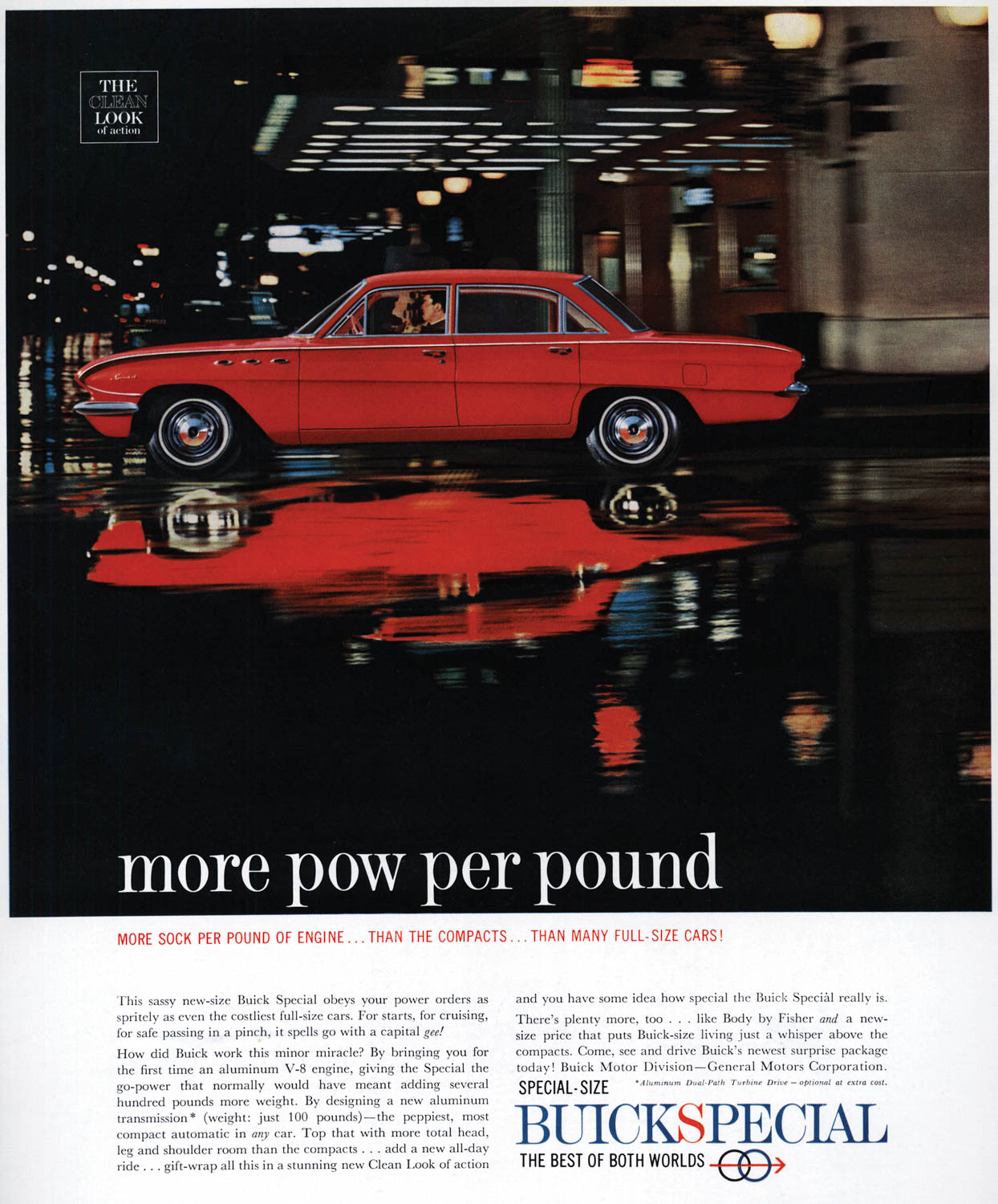 "The revolutionary aluminum V-8 allowed Buick to claim ""more pow per pound"" in this ad for its 1961 Buick Special sedan."