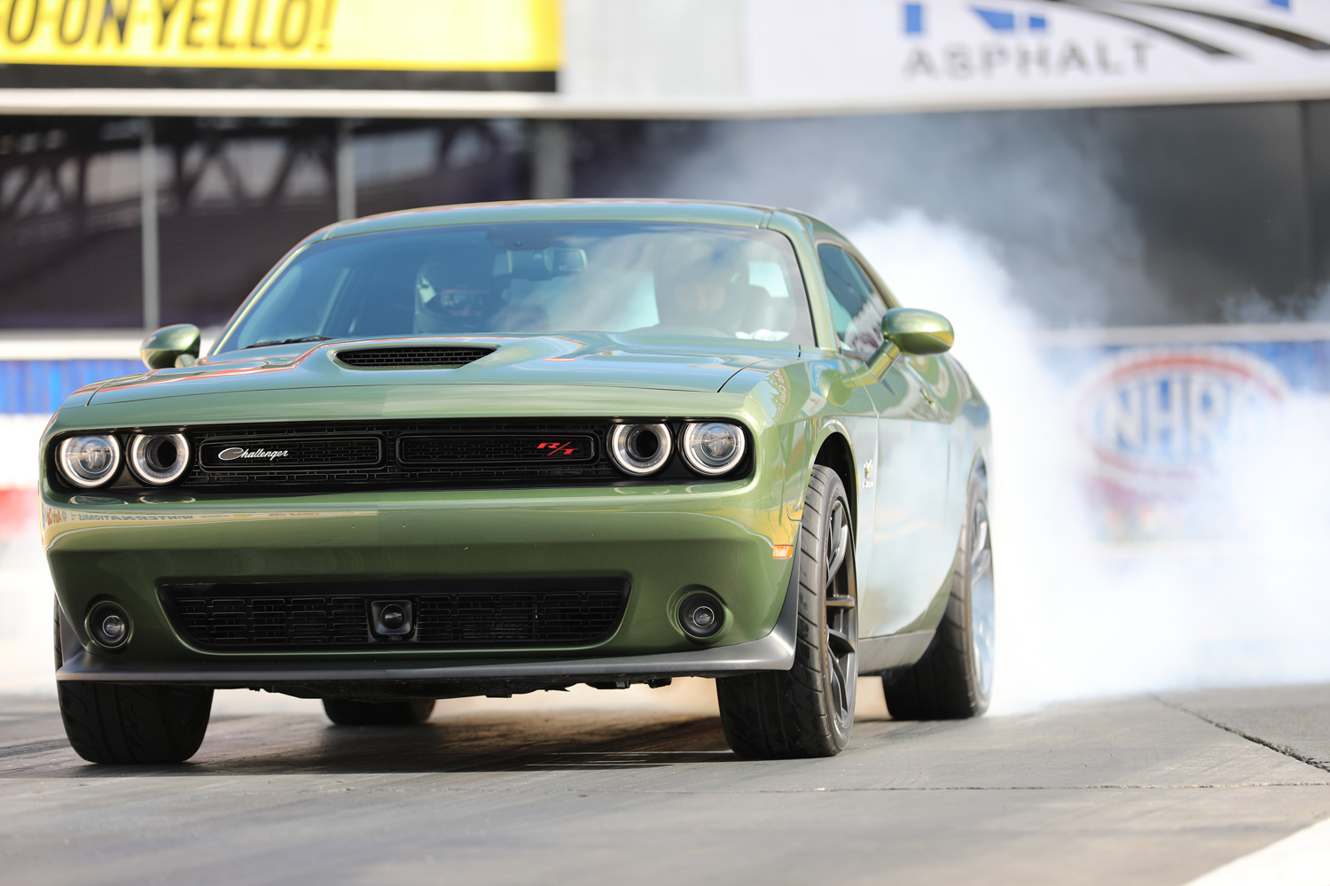 "2019 Dodge Challenger R/T Scat Pack 1320 ""Angry Bee"" green front burnout"