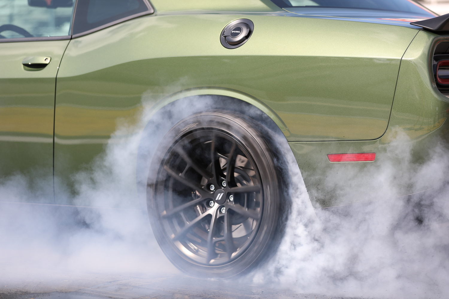 "2019 Dodge Challenger R/T Scat Pack 1320 ""Angry Bee"" burnout wheel detail"