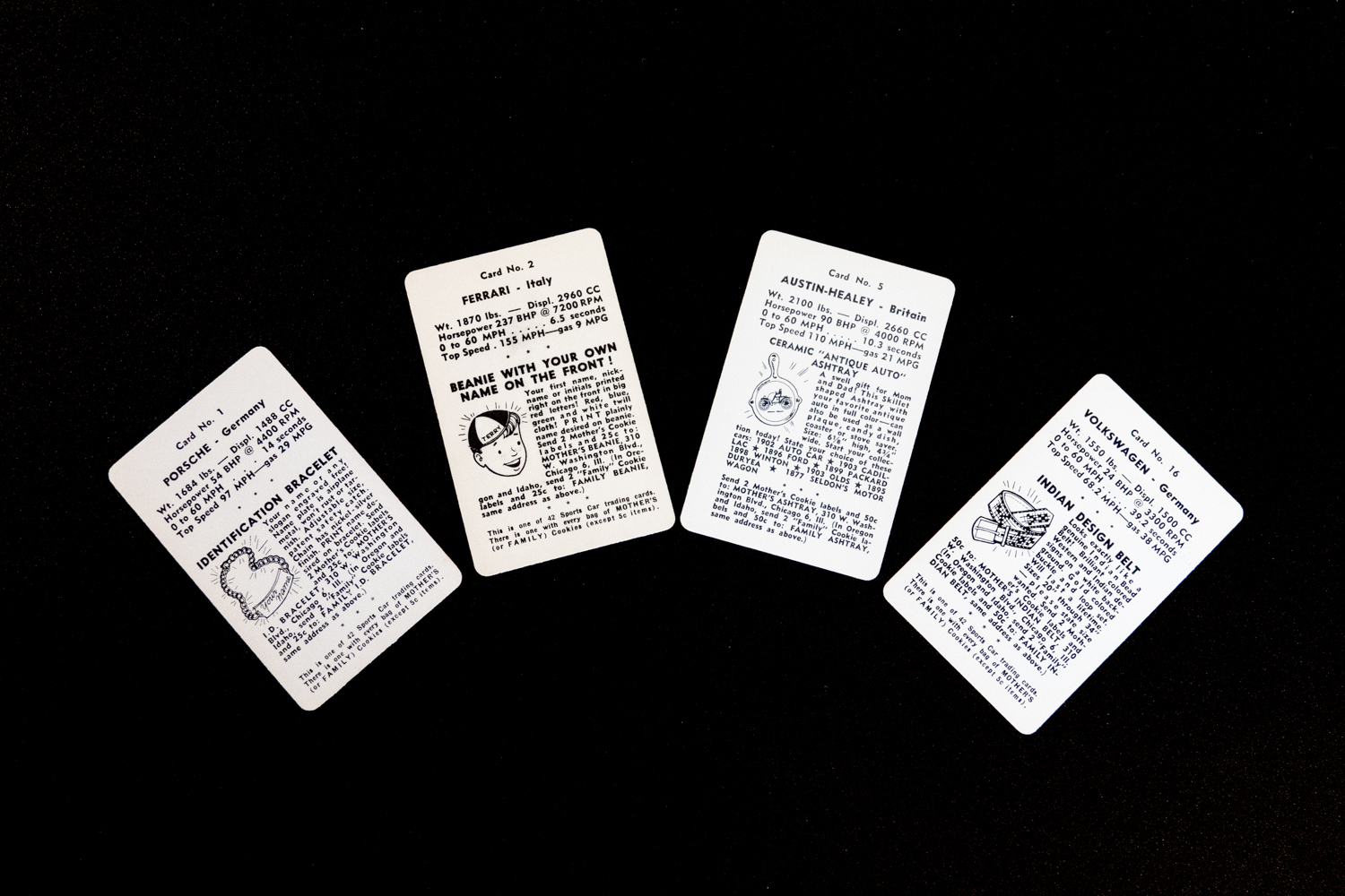 Various mail-in offers on the backs of the cards essentially create four unique 42-card  sets.