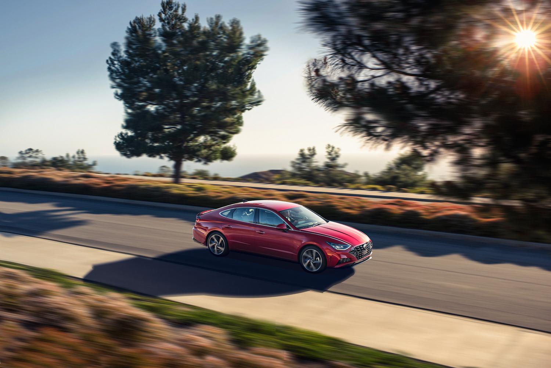 2020 Hyundai Sonata driving sunny raod