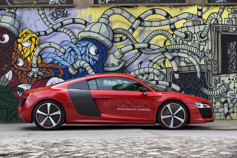 red Audi R8 e-tron