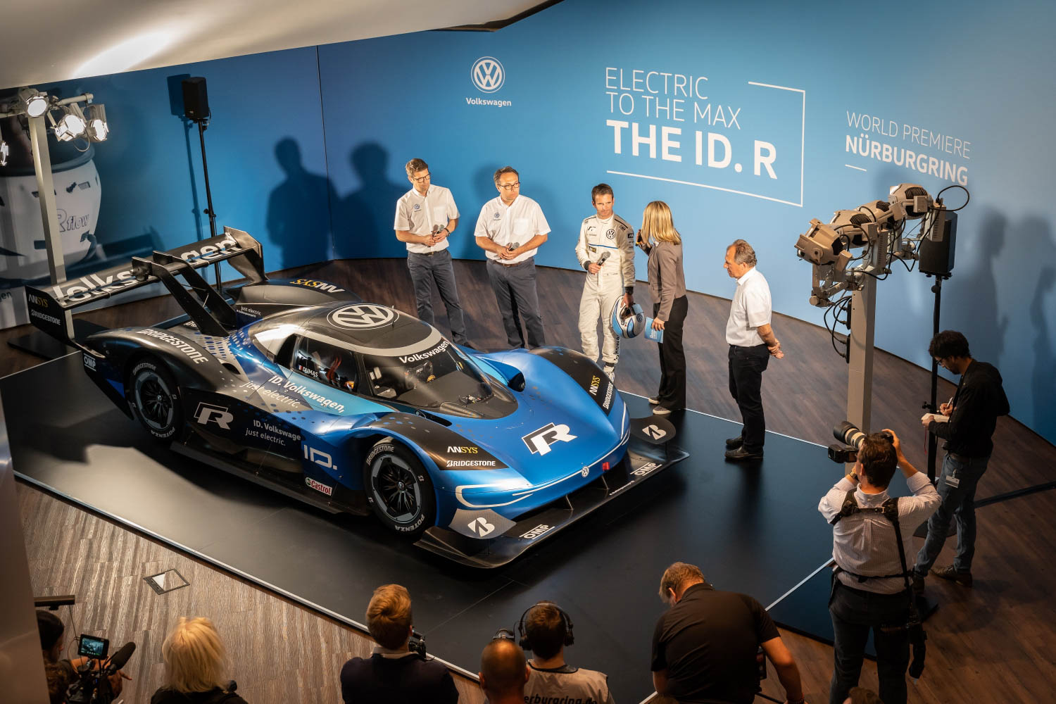 Volkswagen ID. R electric race car overhead