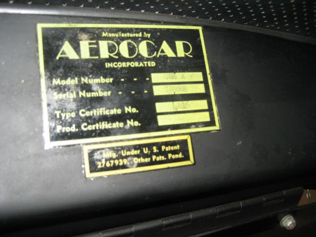 1954 Aerocar One vin plate