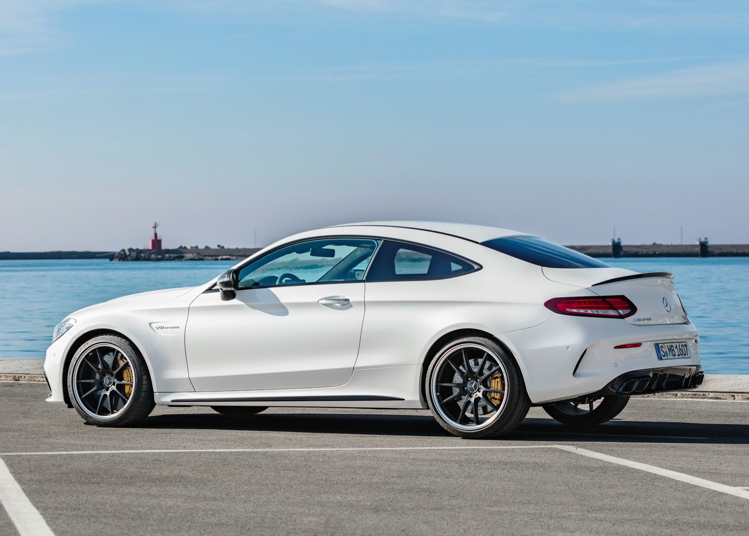 2020 Mercedes-Benz C63 S AMG 3/4 front on track