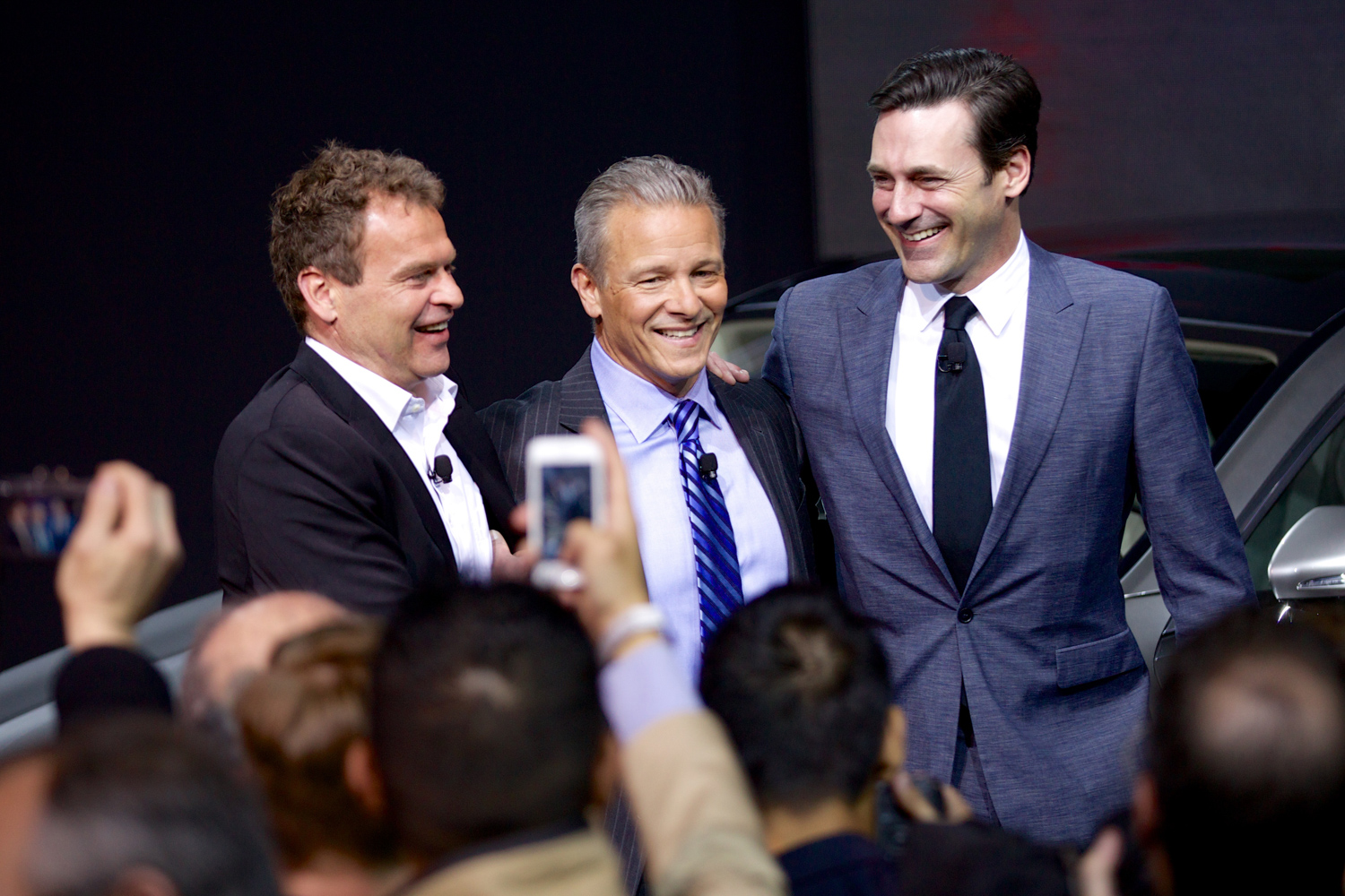 Tobias Moers, CEO & Chairman, AMG; Steve Cannon, President & CEO, MBUSA and Jon Hamm, Mad Men Star at the world premiere of the 2014 S63 AMG Coupe.