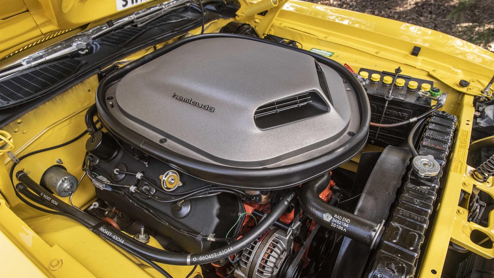 1970 Plymouth Hemi Cuda Convertible engine passenger side