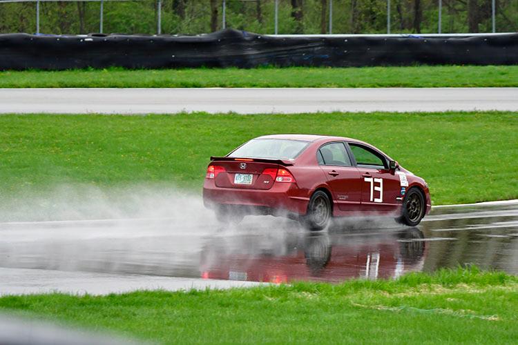 SCCA honda civic red rain 3/4 rear