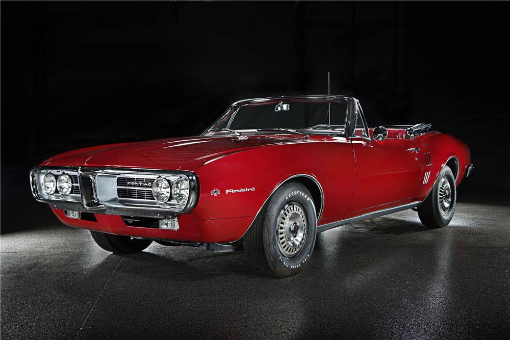 red 1967 Pontiac Firebird front 3/4