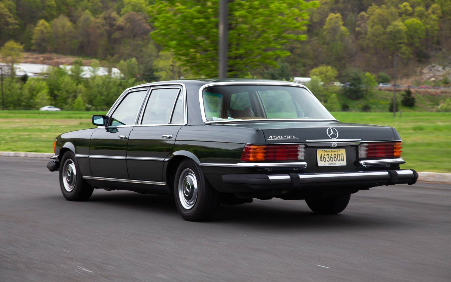 1974 Mercedes-Benz 450SEL driving rear 3/4