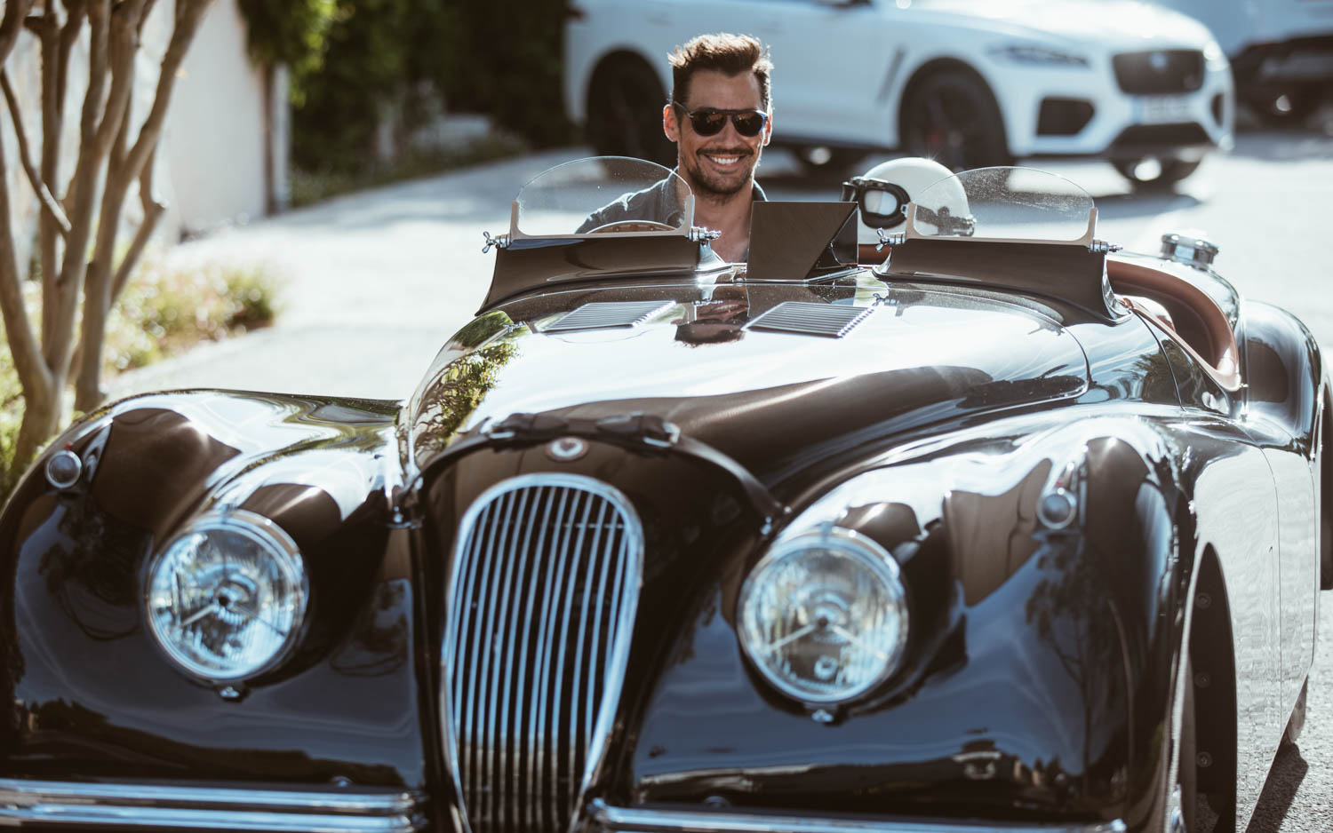Jaguar XK120 smiles