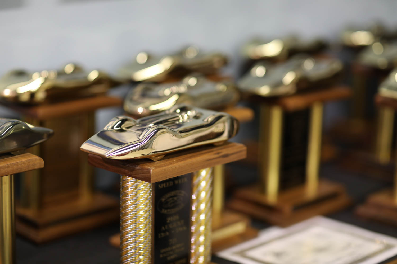 Poteet's garage is filled with carshow and land speed racing trophies