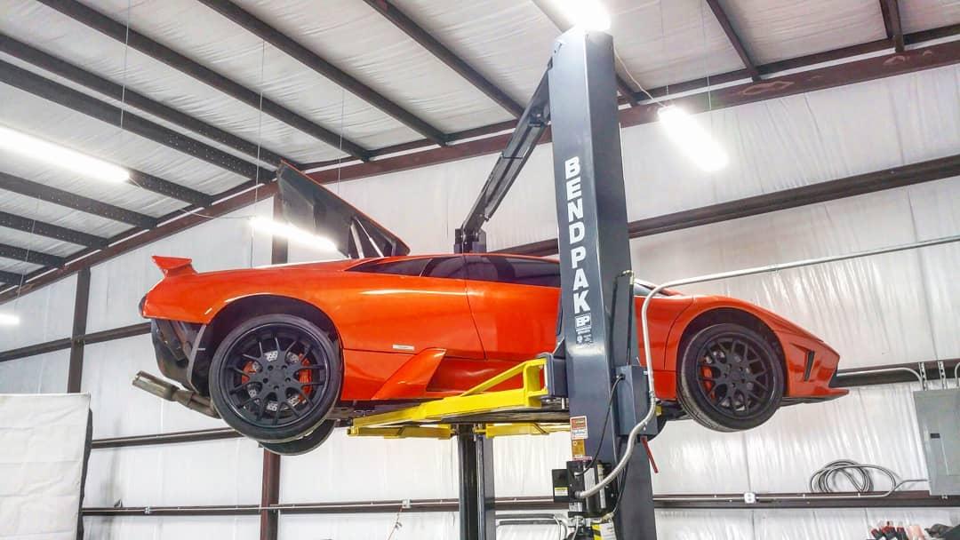Lamborghini Murcielago on a lift