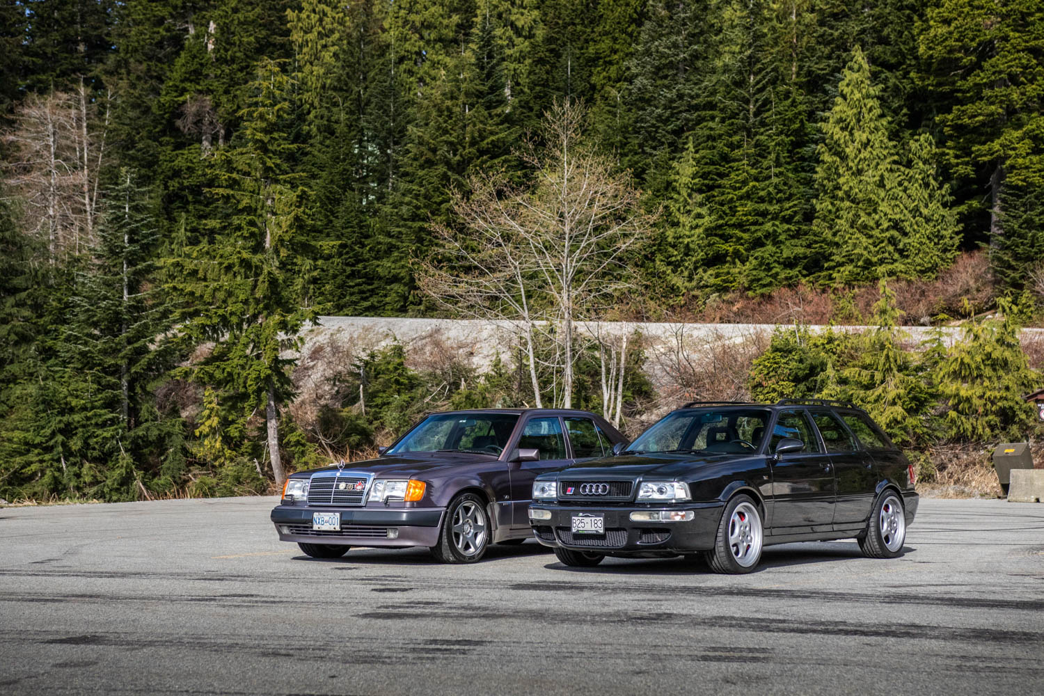 Mercedes-Benz 500E and Audi RS2 front 3/4
