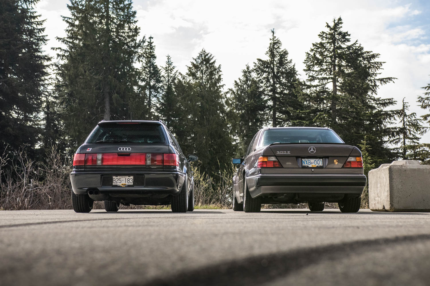 Mercedes-Benz 500E and Audi RS2 rear