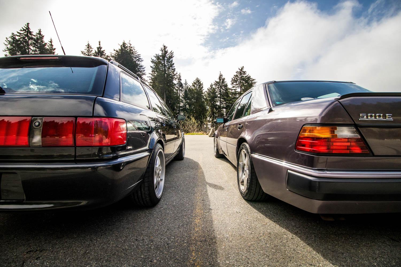 Mercedes-Benz 500E and Audi RS2 rear bumper