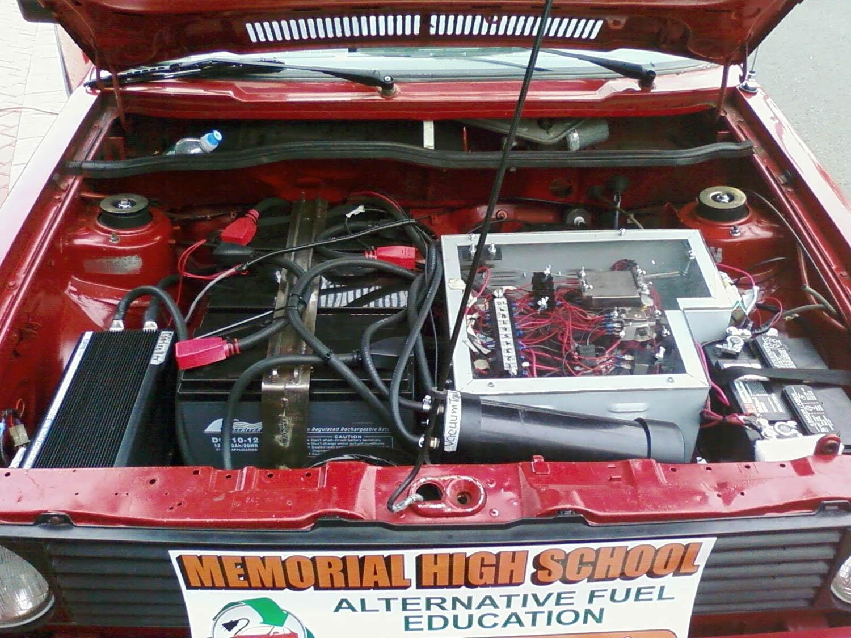 Volkswagen EV Rabbit under the hood