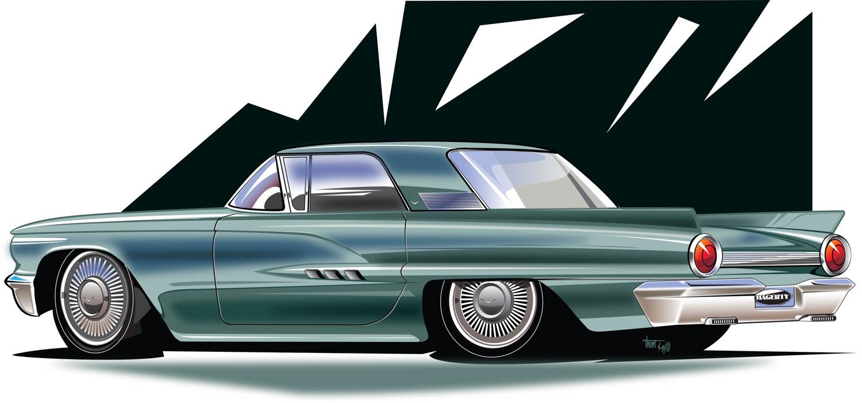 Reimagined 1958 Ford Thunderbird rear 3/4
