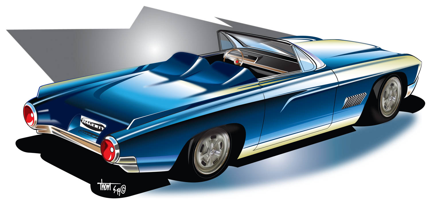 Reimagined 1961 Ford Thunderbird convertible overhead
