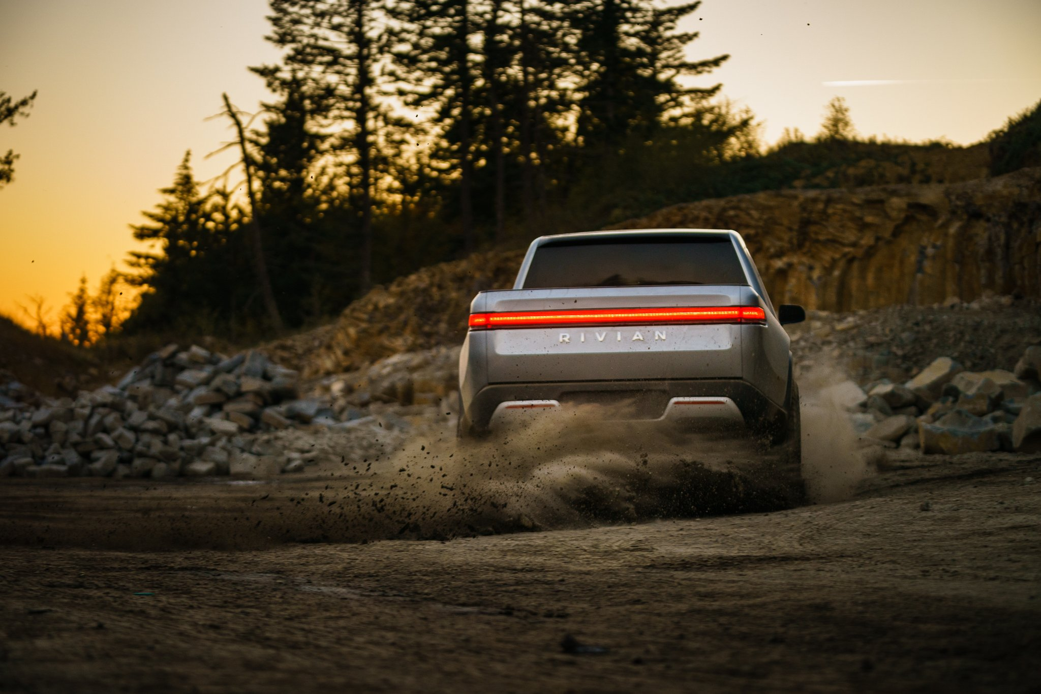 Rivian R1T in the dirt