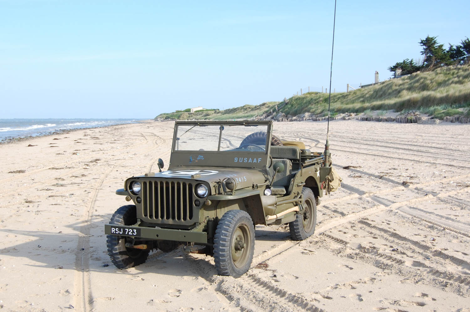 Aaron Robinson's jeep on Utah Beach at the far west end of the American landing zones