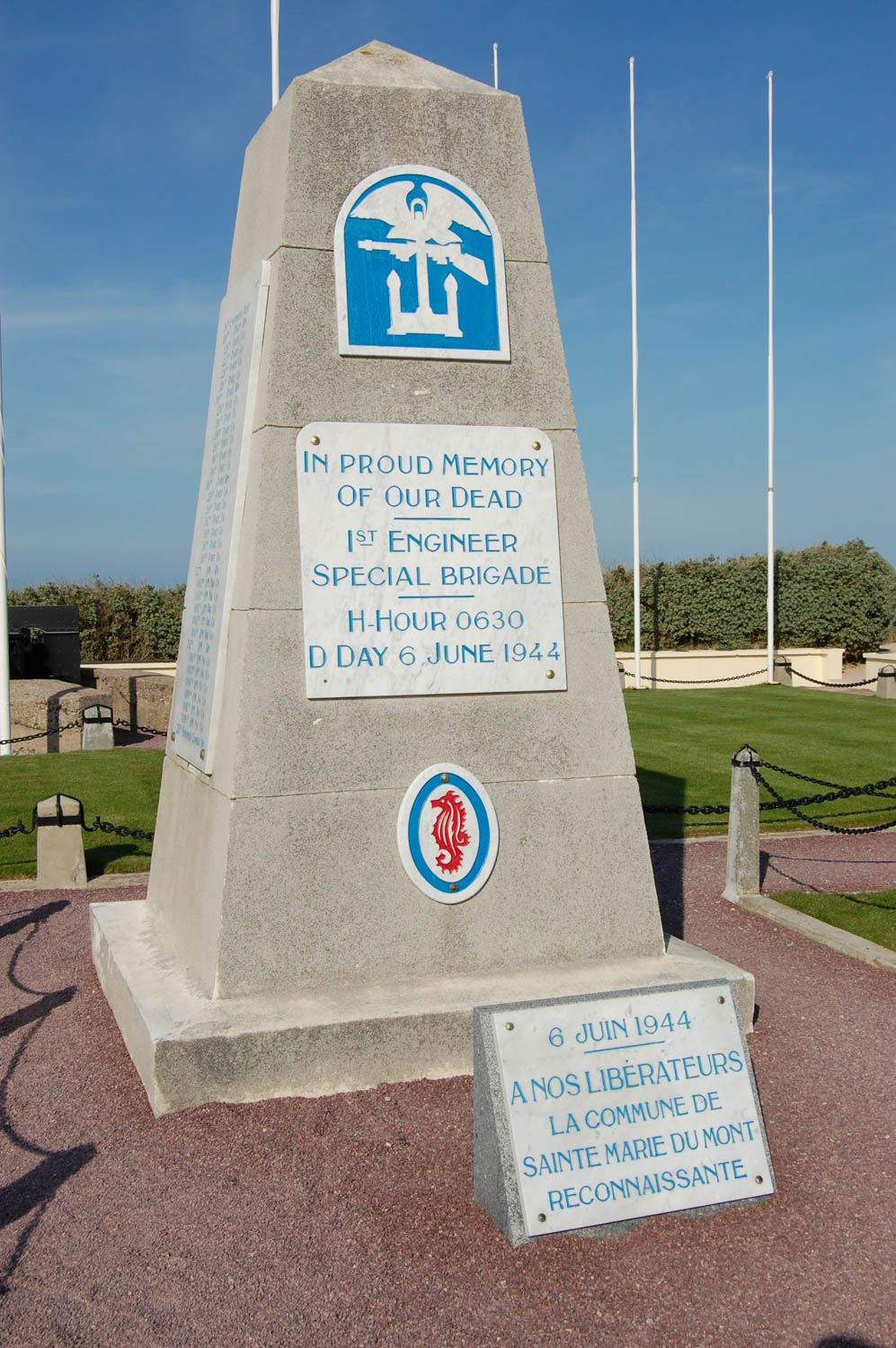One of the monuments commemorating the landing at Utah Beach in Normandy on D-Day.