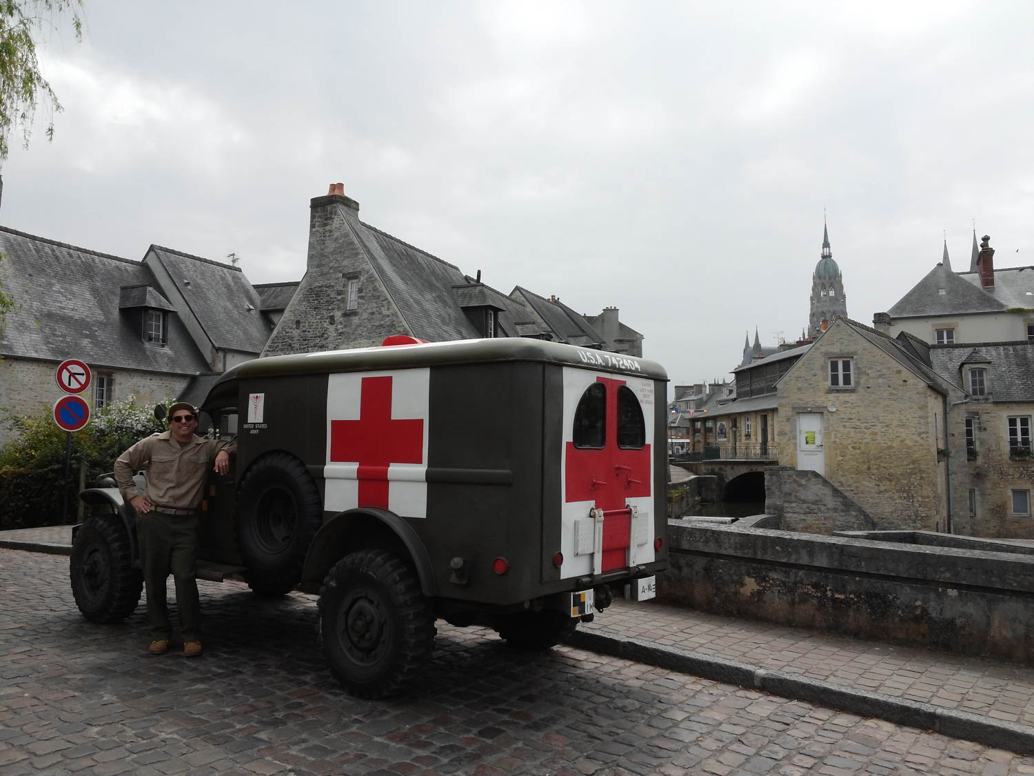 Aaron Robinson with his 1942 Dodge WC54 ambulance In Bayeux, Normandy, the first major city in France to be liberated after D-Day.