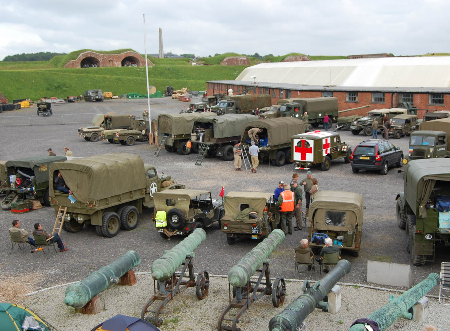 Members of the Military Vehicle Trust gather at Fort Nelson near Portsmouth in the UK before crossing to England.