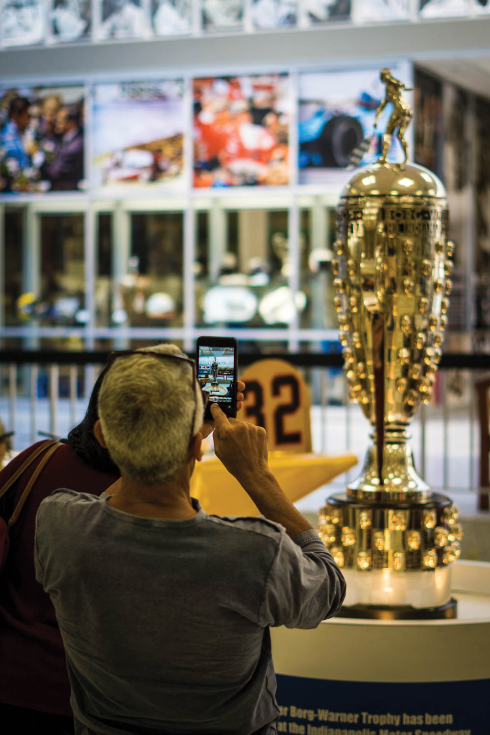 The Borg- Warner Trophy, awarded since 1936 to the Indy 500 winner, is at the IMS Museum