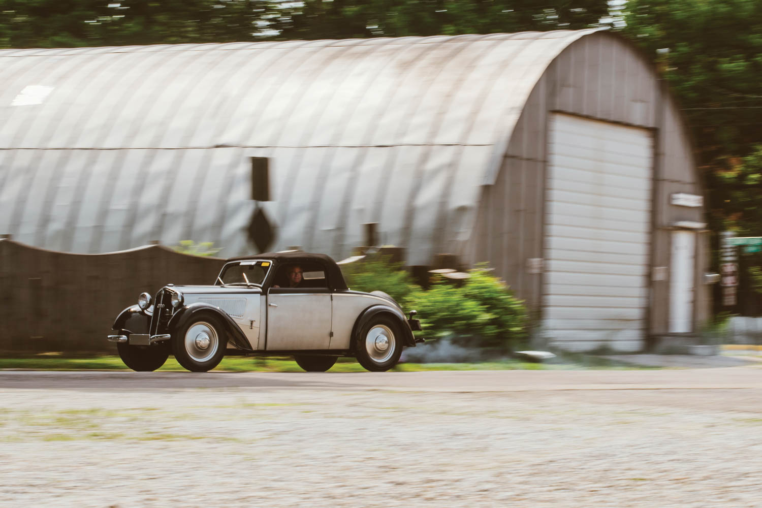 Part of Audi's heritage collection hidden away in corn country, this 1937 DKW F7 Meisterklasse stretches its legs through the quiet streets of College Corner, Ohio.