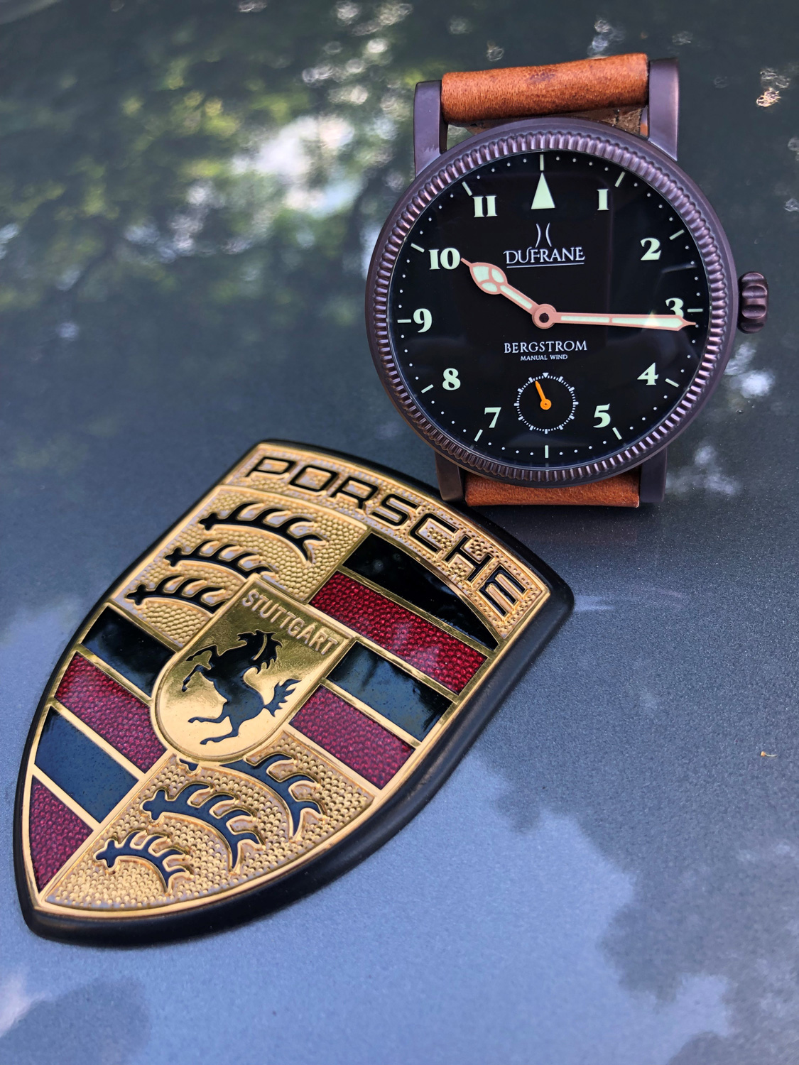 DuFrane watches on a Porsche